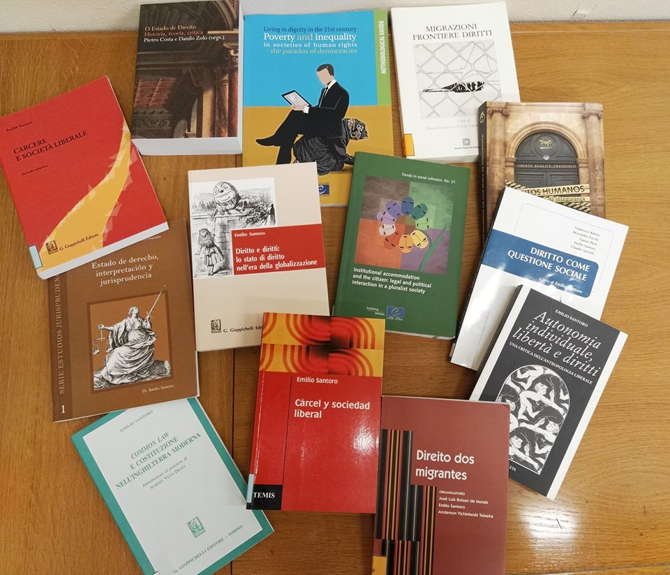 Some of the books that have been donated to the IISL's library.