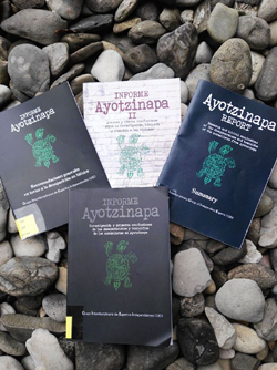 Books on the Ayotzinapa case, donated by Angela Buitrago.