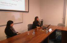 Paola Bergallo (R), during her presentation.