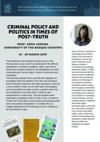Gema Varona: Criminal Policy and Politics in Times of Post-Truth.