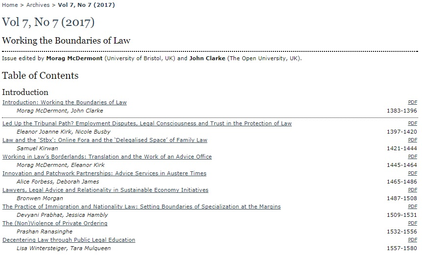 "Table of contents of ""Working the Boundaries of Law""."