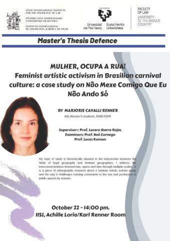 Cartel anunciador de la defensa de Marjorie Cavalli Renner.