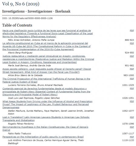 OSLS 9(6), table of contents.